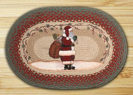 "Santa Braided and Printed Oval Rug 20""x30"""