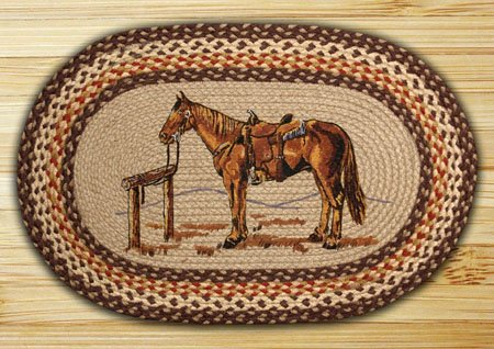 "Horse Braided and Printed Oval Rug 20""x30"""