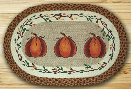 "Harvest Pumpkin Braided and Printed Oval Rug 27""x45"""