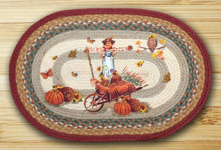 "Pumpkin Celebration Braided and Printed Oval Rug 20""x30"""
