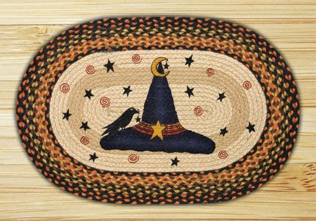 "Witch Hat Braided and Printed Oval Rug 20""x30"""