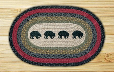 "Black Bears Braided and Printed Oval Rug 20""x30"""