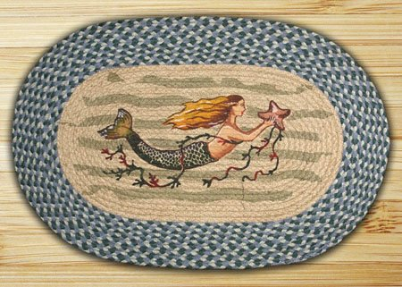 "Mermaid Braided and Printed Oval Rug 20""x30"""
