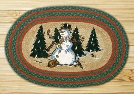 "Winter Wonderland Braided and Printed Oval Rug 20""x30"""