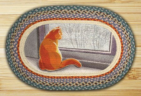 "Winter Cat Braided and Printed Oval Rug 20""x30"""