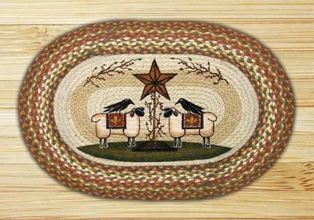 "Sheep and Barn Star Braided and Printed Oval Rug 20""x30"""