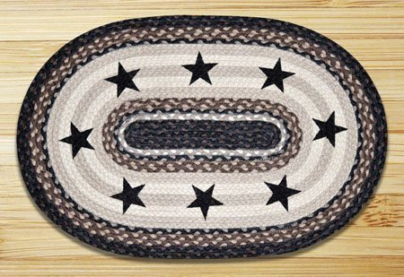 Black Stars Oval Braided Rug 4'x6'