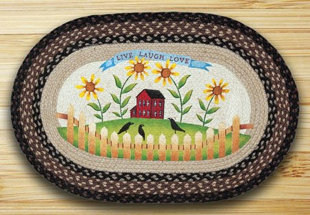 """Live Love Laugh Braided and Printed Oval Rug 20""""x30"""""""