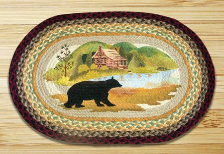 "Cabin Bear Braided and Printed Oval Rug 20""x30"""