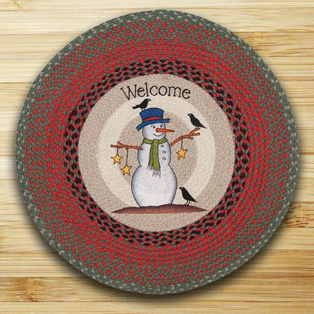 "Snowman Crow and Stars Braided and Printed Round Rug 27""x27"""