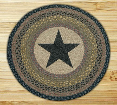 "Black Star Braided and Printed Round Rug 27""x27"""
