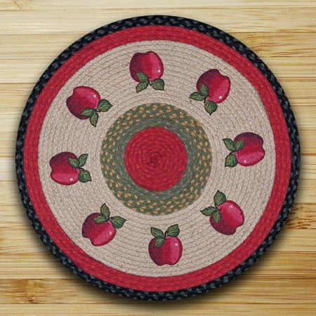 "Apples Braided and Printed Round Rug 27""x27"""