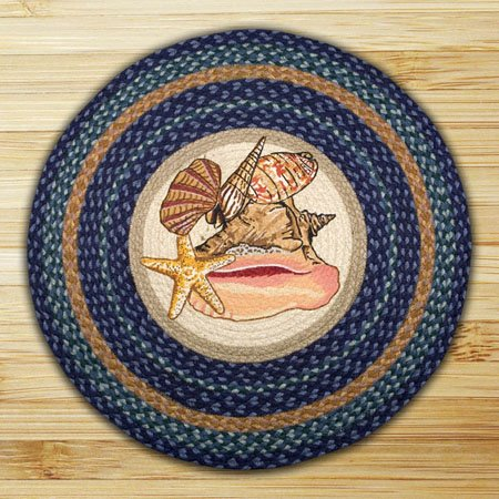 "Sea Shells Braided and Printed Round Rug 27""x27"""