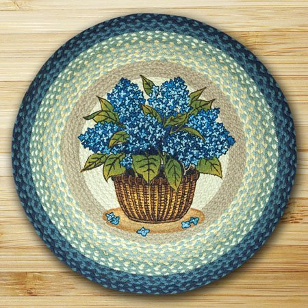 "Blue Hydrangea Braided and Printed Round Rug 27""x27"""