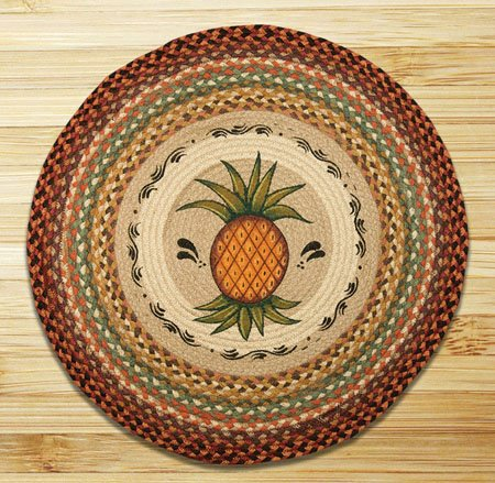 "Pineapple Braided and Printed Round Rug 27""x27"""
