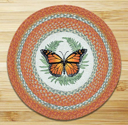 "Monarch Braided and Printed Round Rug 27""x27"""