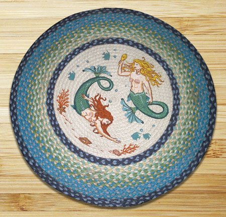 "Mermaids Braided and Printed Round Rug 27""x27"""