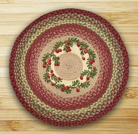 "Cranberries Braided and Printed Round Rug 27""x27"""