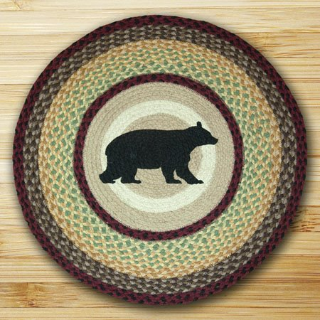 "Cabin Bear Braided and Printed Round Rug 27""x27"""