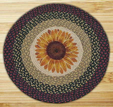 "Sunflower Braided and Printed Round Rug 27""x27"""