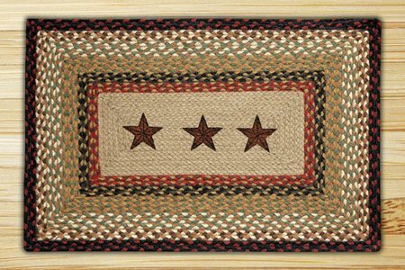 "Barn Stars Rectangle Braided Rug 20""x30"""