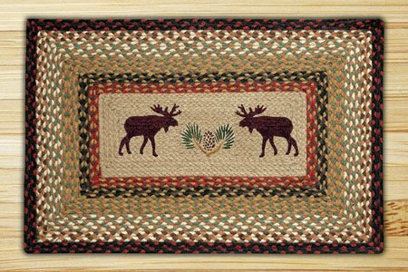 "Moose / Pinecone Braided and Printed Rectangle Rug 20""x30"""