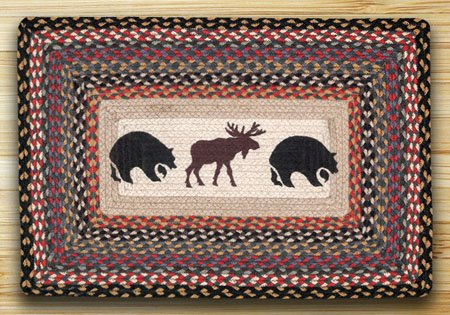 "Bear / Moose Braided and Printed Rectangle Rug 20""x30"""