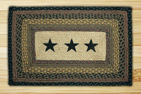 "Black Stars Braided and Printed Rectangle Rug 20""x30"""