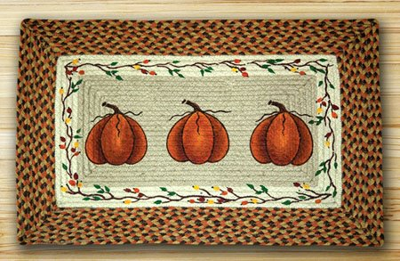 "Harvest Pumpkin Braided and Printed Rectangle Rug 20""x30"""