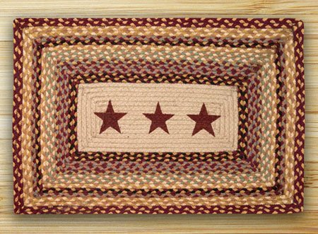 "Burgundy Stars Rectangle Braided Rug 20""x30"""