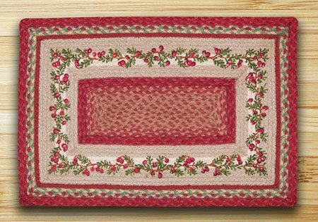"Cranberries Braided and Printed Rectangle Rug 20""x30"""