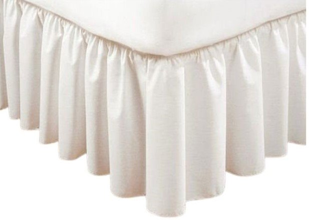 Extra Long Plain 21 inch Twin White Bedruffle