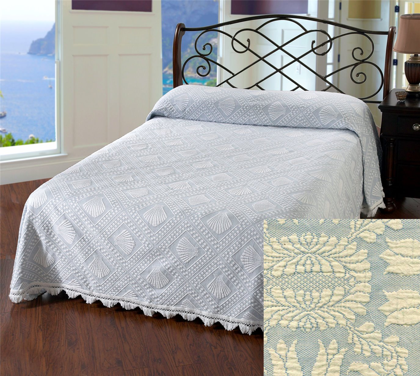 Cape Cod King French Blue Bedspread