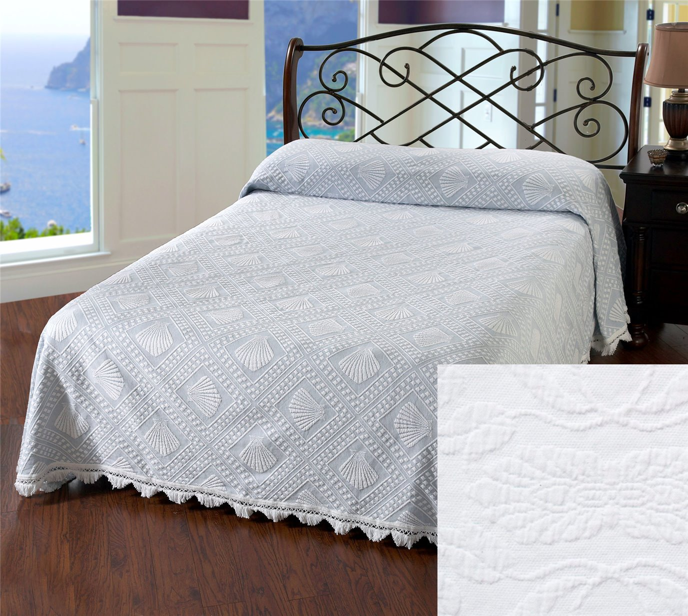 Cape Cod Queen White Bedspread