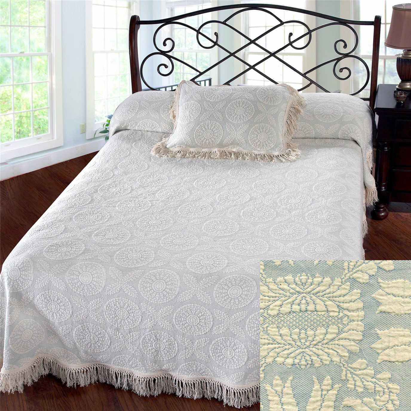 Heirloom Full French Blue Bedspread
