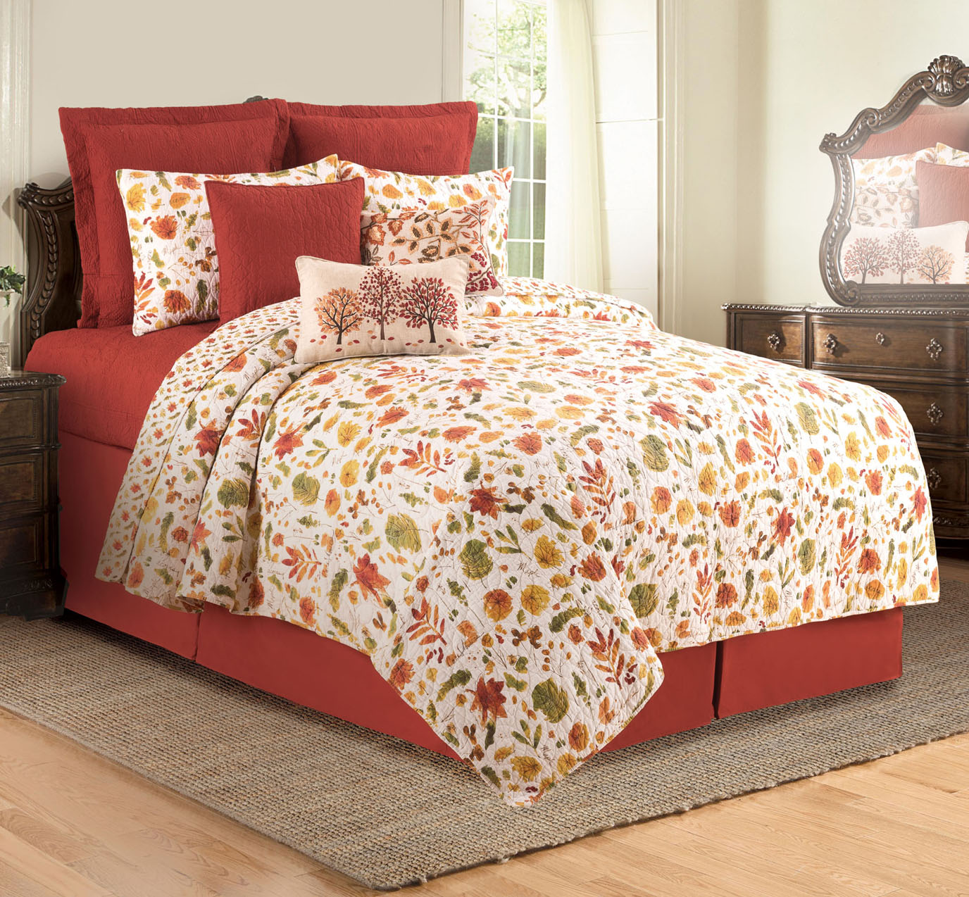 Watercolor Sketches Queen Quilt Set