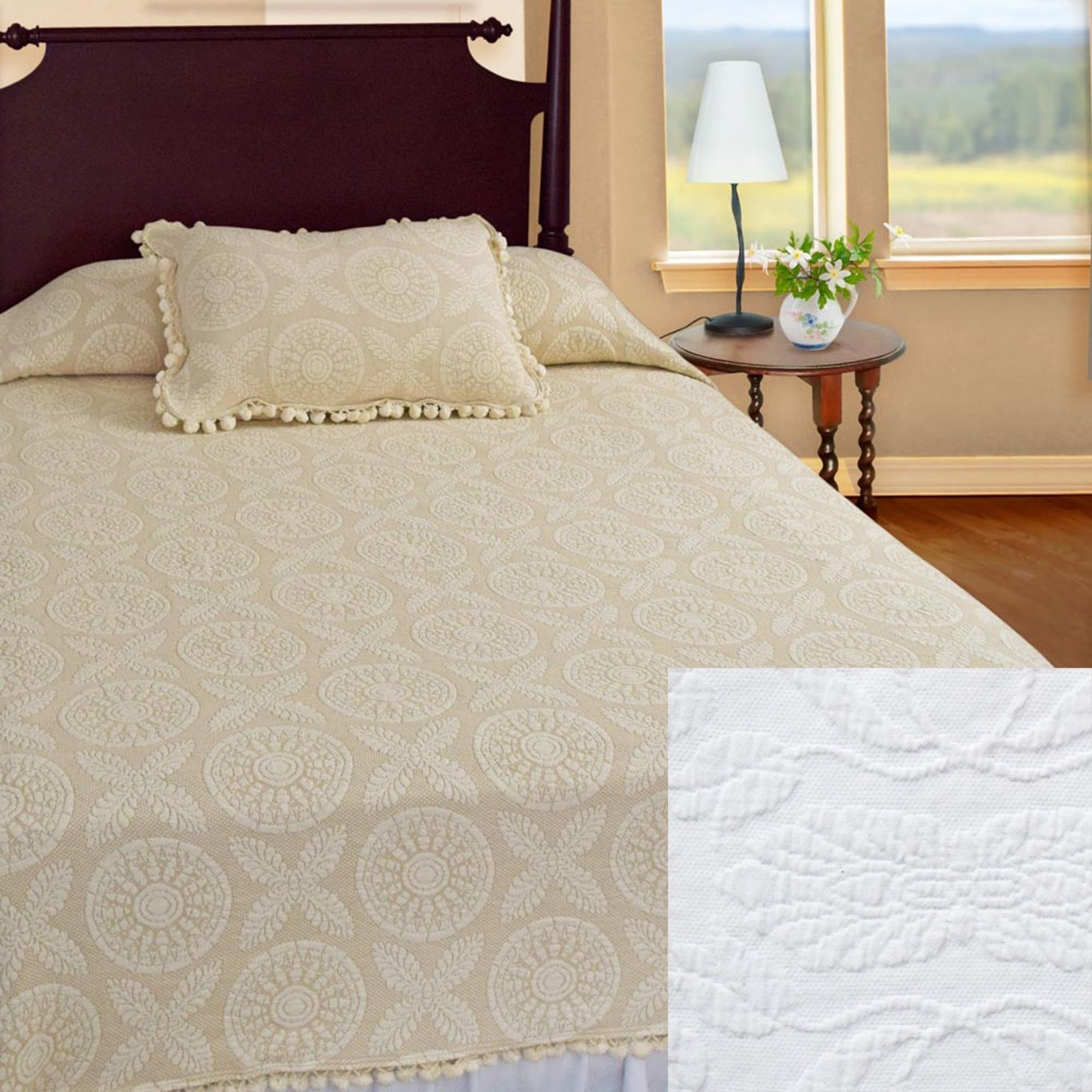 Heirloom Twin White Coverlet
