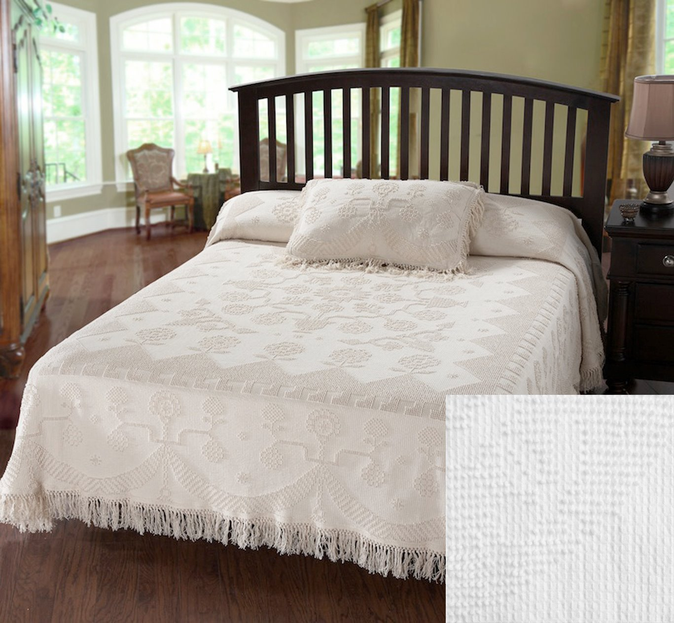 George Washington Bedspread Twin White