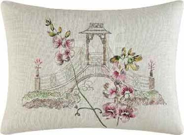 Garden Folly Embroidered Bridge Pillow