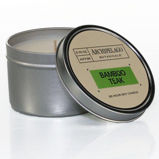 Archipelago Bamboo Teak Tin Candle