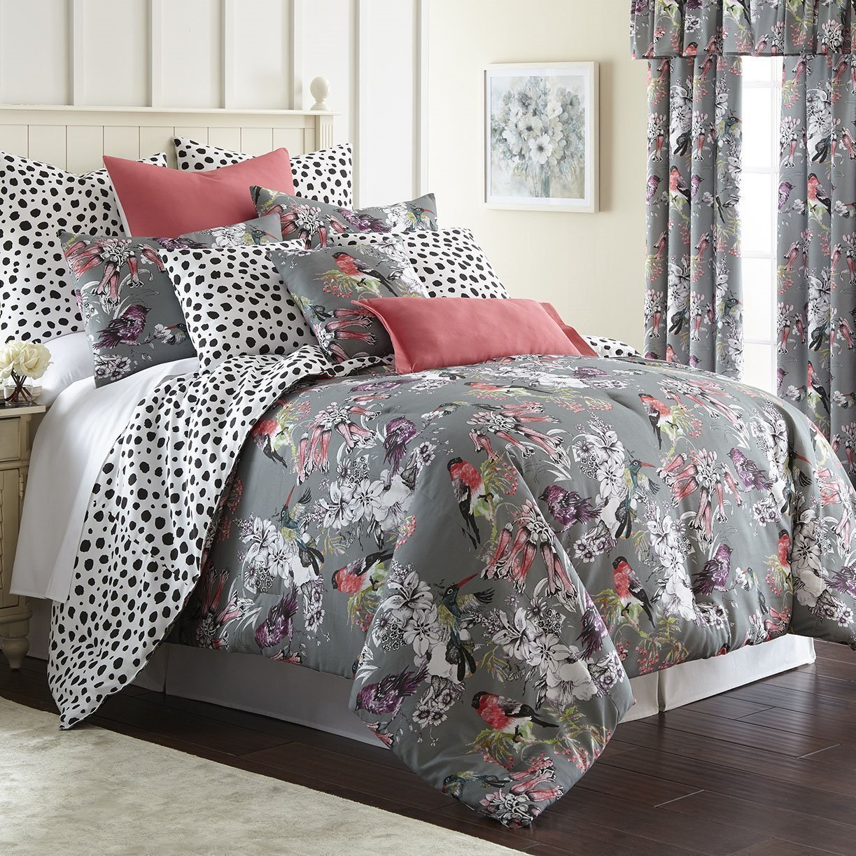 Birds In Bliss Duvet Cover Set Reversible Super Queen