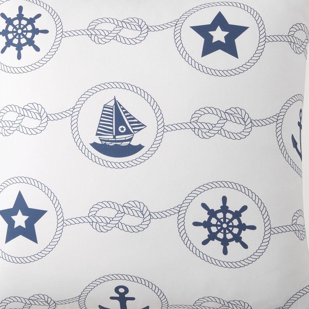 Nautical Board White with Blue Print Fabric Per Yard
