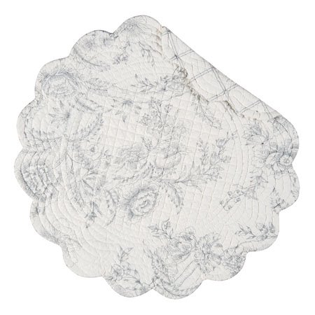 Clementina Cement Round Quilted Placemat
