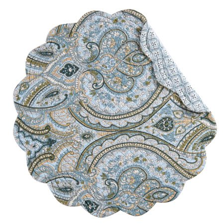 Amherst Blue Round Quilted Placemat