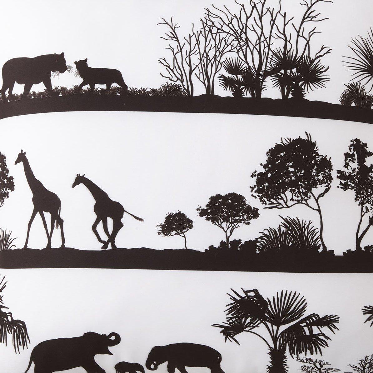 African Safari White Background, Black Print Fabric Per Yard