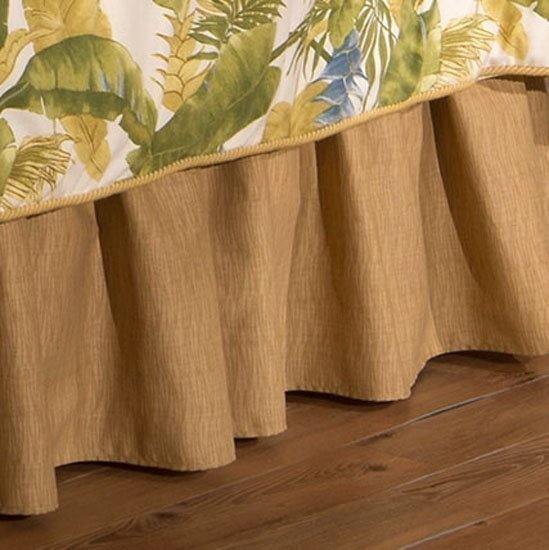 "Cayman Golden Grass Cloth Queen 15"" Drop Bedskirt"