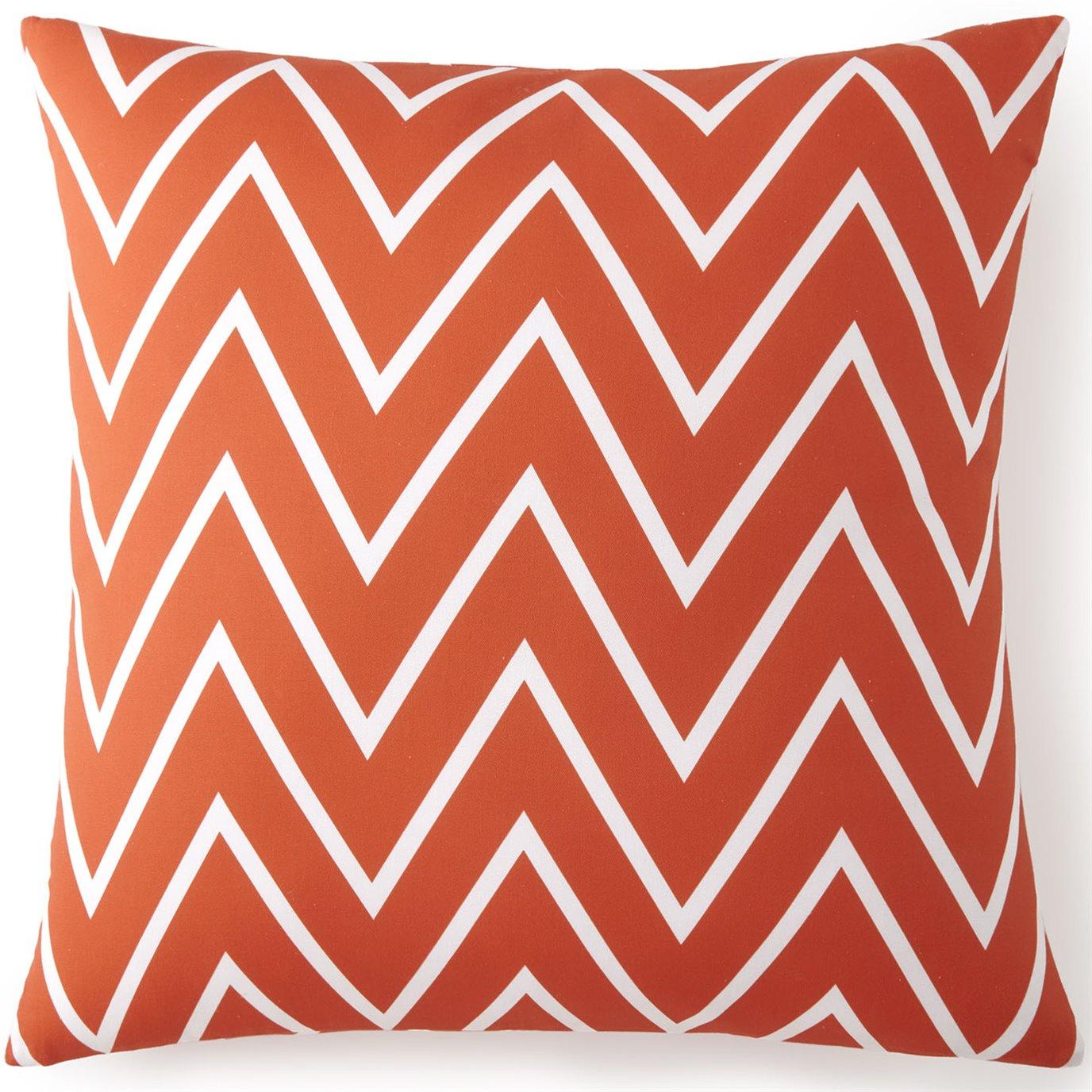 Flamingo Palms Euro Sham - Orange Zigzag