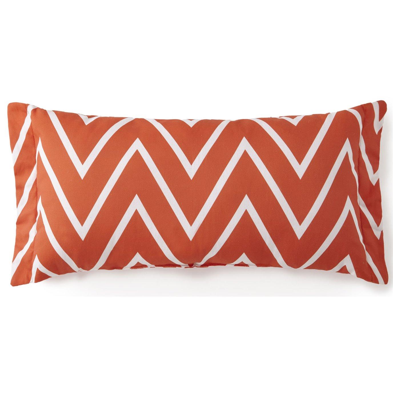 Flamingo Palms Long Rectangle Cushion - Orange Zigzag
