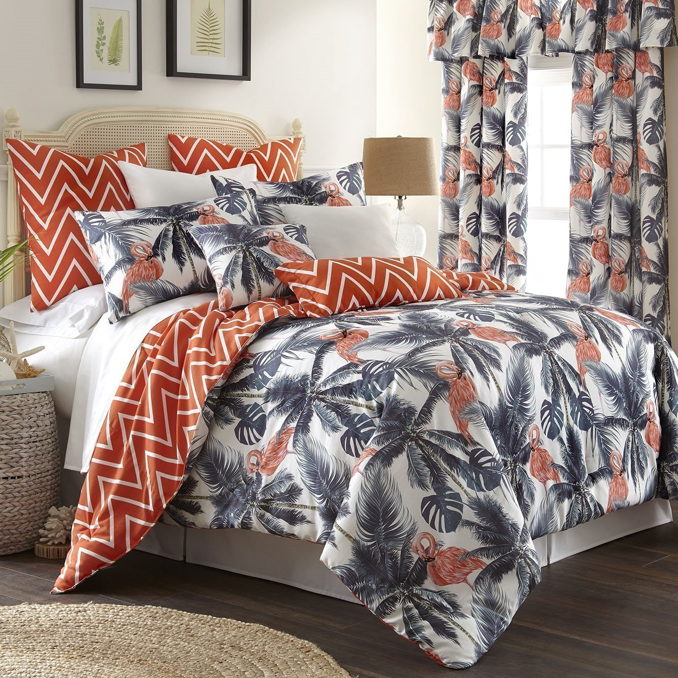 Flamingo Palms Duvet Cover Set Reversible Super Queen