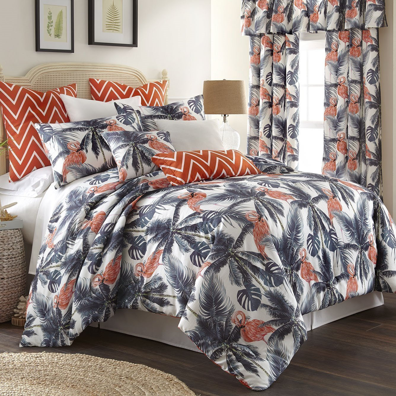 Flamingo Palms Duvet Cover Set Queen Size
